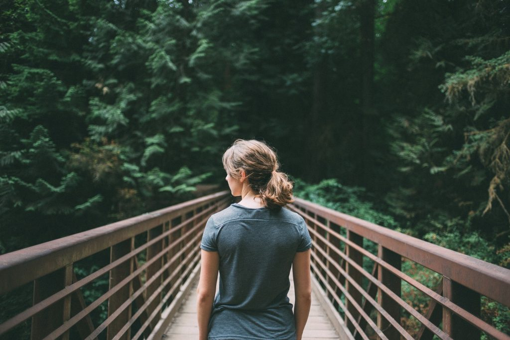 Woman Forest Bathing Nature Therapy Hike
